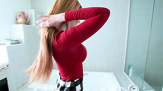 Busty redhead stepmom blows her stepson in the shower