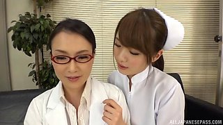 Japanese nurse and female doctor have hot lesbian sex