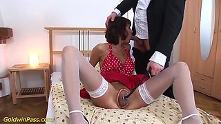 extreme sexy skinny mature enjoys her first brutal anal pumping and fucking porn lesson