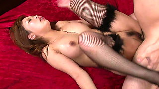 Sexy Asian babe gets her perfect tits creamed