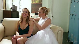 Bride seduces lovely bridesmaid Mia Malkova and licks her yummy pussy
