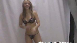 Hot teen french girl bikini strip photoshoot
