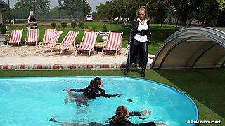 Three ardent lesbians do it live right inside the pool as they fondle each other