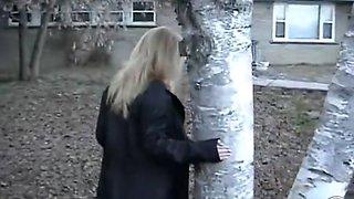 Blonde big boobed girlfriend flashing in public park bench