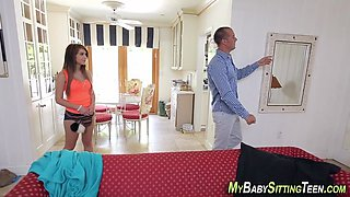 Teen sitter tugs for cum