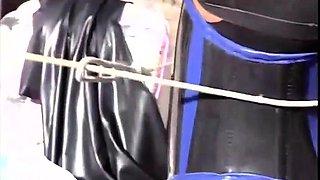 Masked slavegirl in the skillful hands of old bondage master