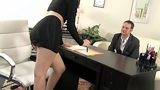 strict female boss trains her new employee
