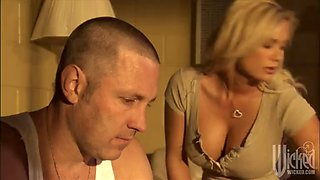 rough sex with a busty blonde and her lucky man
