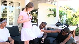 Petite teen schoolgirl interracial gangbanged outdoor