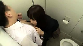 Stacked Japanese schoolgirl nailed hard in a public toilet
