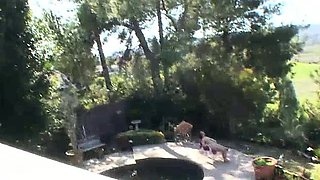 Cali Hayes was sunbathing nude by the swimming pool, when
