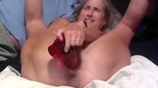 Hot MILF Closeup Of Pussy Spread Wide While Playing With Huge Dildo Mature