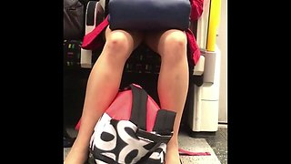 Candid lucky upskirt oops on train morning wood