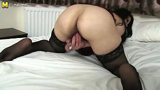 Mature solo masturbation and dildo fucking sex session