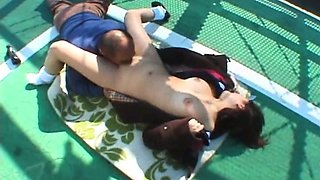 Japanese teen licked and fucked outdoor uncensored
