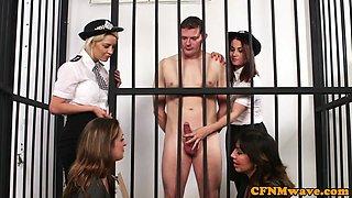CFNM babes dominate naked guy