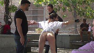 Busty slave deep throat banged in public