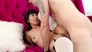 Sexy Asian Maid cleans off her bosses meaty cock