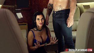 Jasmine Jae fucked hard by a handsome man on an airplane