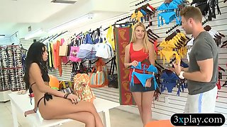 Blonde convinced to tryout wearing bikini and pounded