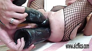 XXL double big dildo fucking destruction