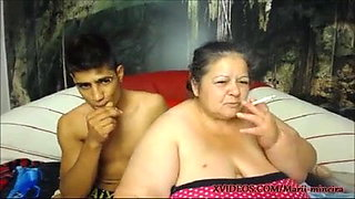 Fat old woman gets fucked by young guy