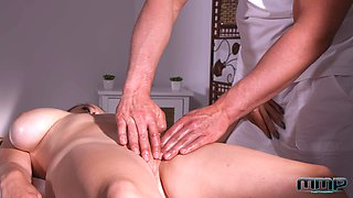 Busty goddess finds her masseur intriguing and decides to fuck him