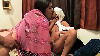 Game night orgy Hot arab nymphs with hijab try foursome