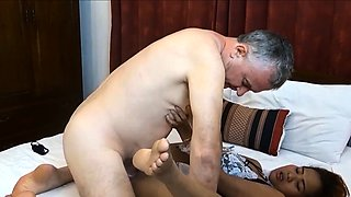 Thai amateur maid cleans old guys cock instead of his room