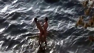 Drunk nudist blowjob and beach fuck