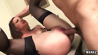alison rey enjoys her boss' dick sliding inside her hot pussy
