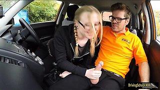 Pretty marketing student Satin Spank banged in the car