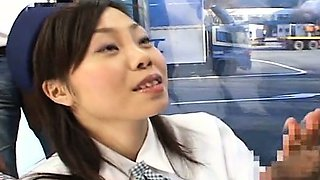 Subtitled CFNM amateur Japanese bus tour guide blowjob