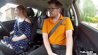 Curvy ginger publicly riding british guy