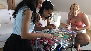 3 girls making puzzles our perv cameraman goes under skirts