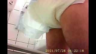 Diaper change in Public toilet hiddencam