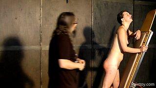 Brunette sex slave gets abused hard by her master