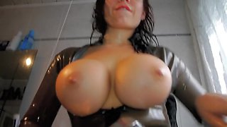 World Premiere My sexually excited latex shower with a glad ending