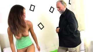 Naked young russian brunette girl gets the wang