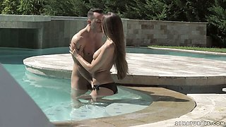 Small tittied babe Veronica Clark is making love by the poolside