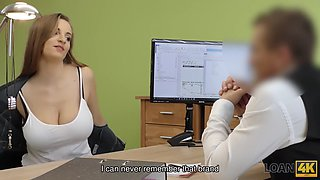 LOAN4K. Bad redhaired girl sucks and gets nailed in the loan office