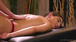 Abella Danger and Haley Reed are making love in a massage room and moaning while cumming