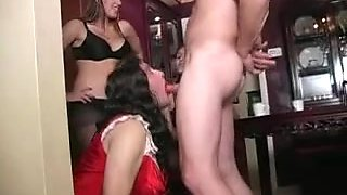 Busty dominas and sissy cuckolds in a femdom video
