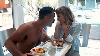 Romantic babe Ivy Wolfe is making love with her elder lover