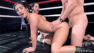 Sporty cowgirls get plowed in the ring in a saucy ffm threesome