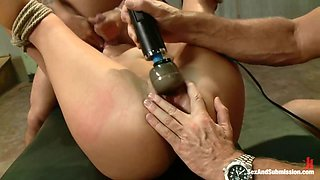 Tied and fucked by two
