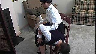 Schoolgirl cuts class, get caught, gets spanked