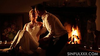 Romantic evening near the fire place is turned into steamy fuck with Vinna Reed