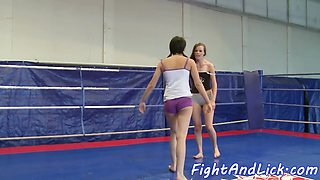 Wrestling beauties pussyfingering and licking