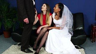 Black cfnm bride wanking dick in this erotic threesome